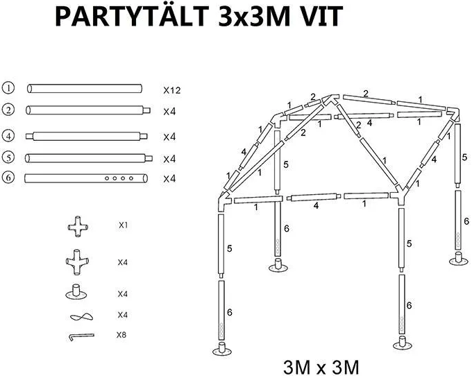 Tält i helt stål fällbart 2x3m + Bärväska —