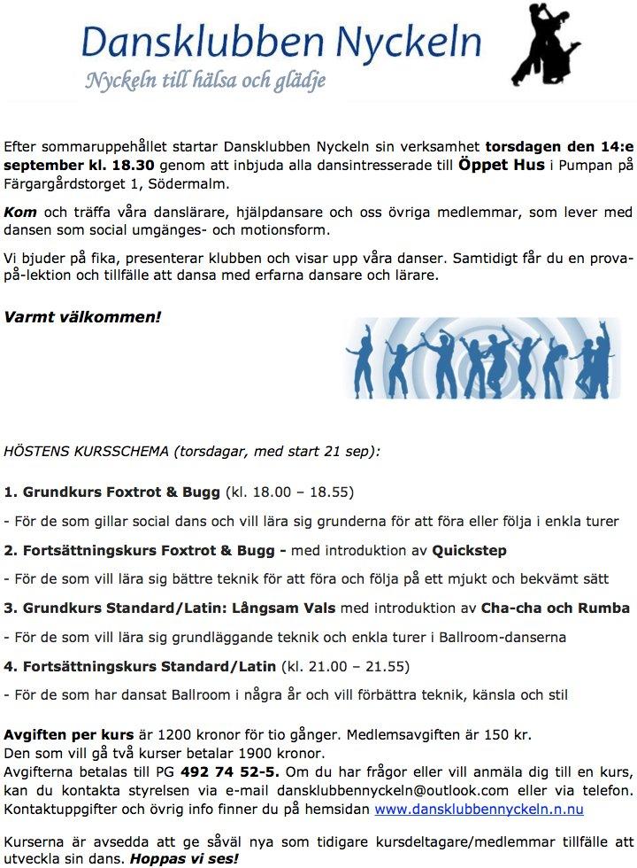 db8af86d2f31 170914To Dansklubben Nyckeln Öppet hus kl 1830